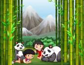 Asian boy and girl with panda