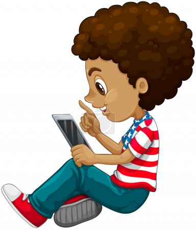 Curly hair boy using tablet computer