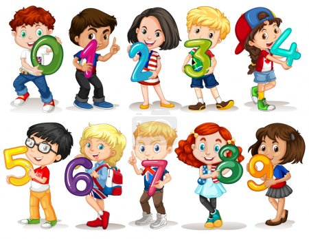 Children holding number zero to nine