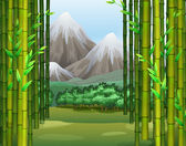 Bamboo jungle with mountains background illustration
