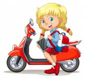 Blond girl and motorcycle