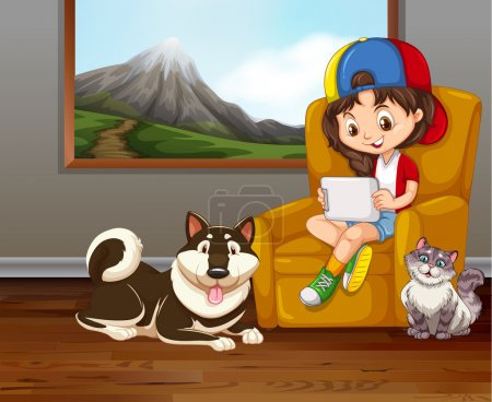 Little girl on sofa with pet dog and cat
