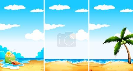 Illustration pour Scène de plage en trois points de vue différents illustration - image libre de droit