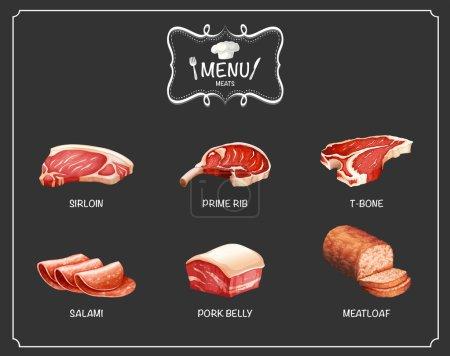 Different kind of meat on menu illustration...
