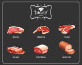 Different kind of meat on menu