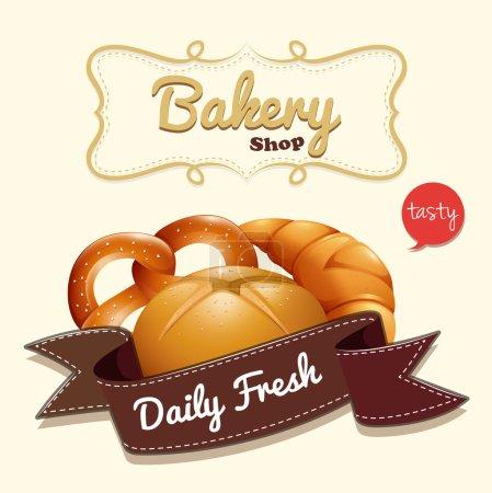 Illustration pour Logo de boulangerie avec texte et illustration de pain - image libre de droit