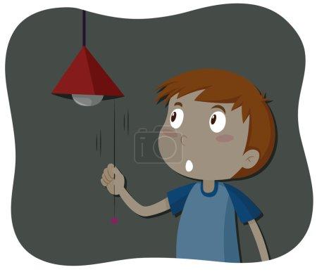 Illustration for Boy turning off the light illustration - Royalty Free Image