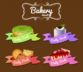 Bakery shop logo design with donut and cakes