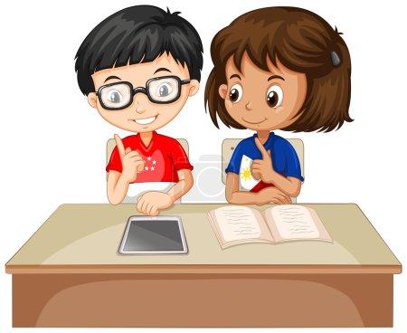 Illustration pour Garçon et fille travaillant ensemble illustration - image libre de droit