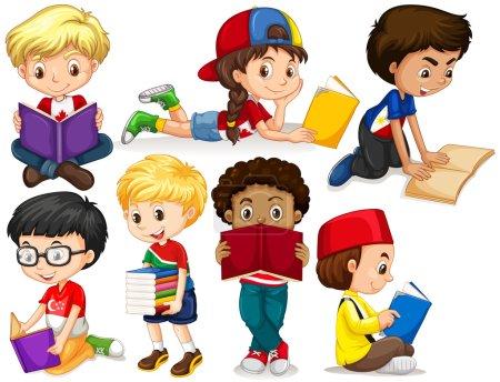 Illustration pour Garçons et filles lisant des livres illustration - image libre de droit