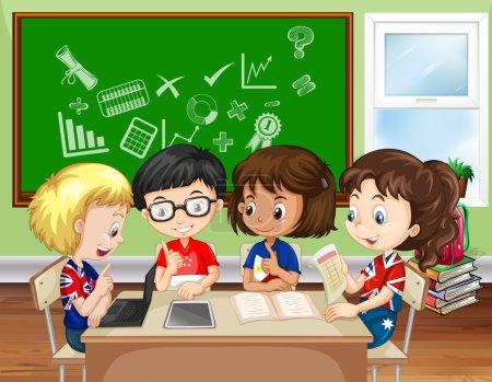 Illustration pour Enfants travaillant en groupe dans la salle de classe illustration - image libre de droit
