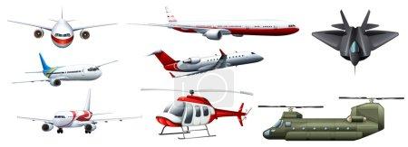 Illustration for Different kind of fighting jet illustration - Royalty Free Image