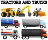Different kind of tractors and trucks