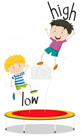 Two boys jumping on trampoline low and high
