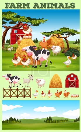 Farm theme with animals and field
