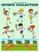 Tennis players and tennis courts