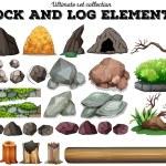 Rock and log elements illustration...