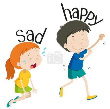 Opposite adjective sad and happy