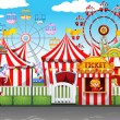 Carnival with many rides and shops illustration...