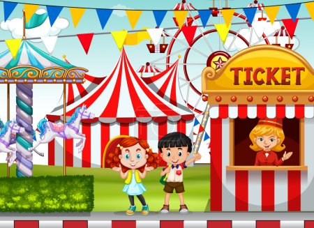 Children at the circus ticket booth illustration...