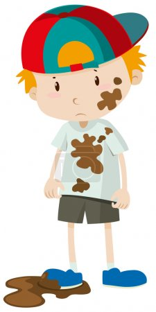 Little boy wearing dirty clothes illustration...