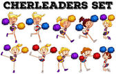 Cheerleaders with pompom jumping up and down