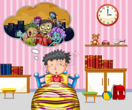 Illustration for Little boy having nightmare illustration - Royalty Free Image