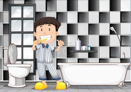 Boy brushing teeth in the bathroom