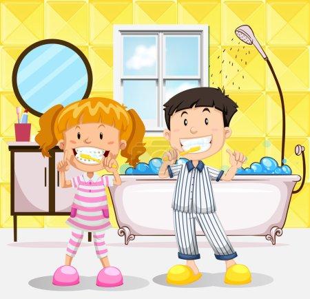 Boy and girl brushing teeth in the bathroom