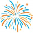 Fire work in orange and blue color illustration...