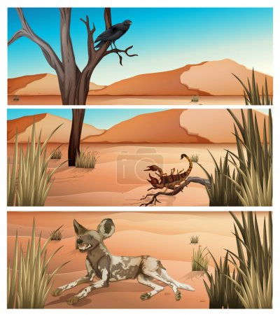 Illustration for Wild animals living in dessert illustration - Royalty Free Image