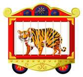 Wild tiger in the circus cage illustration