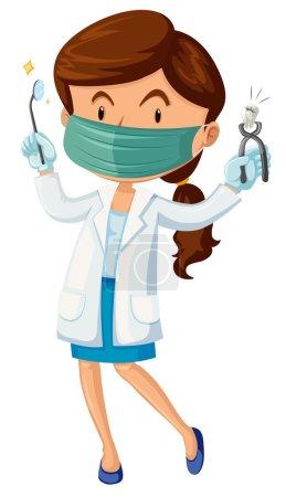 Illustration pour Dentiste féminine avec illustration de dents et d'outils - image libre de droit