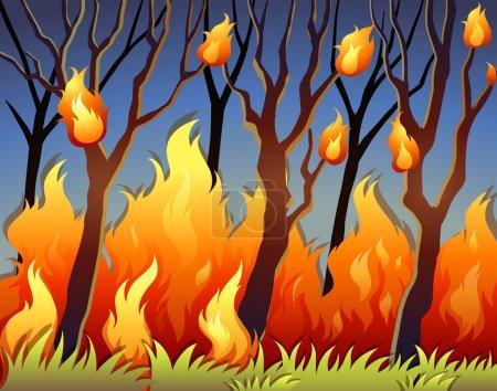 Illustration pour Illustration des arbres dans la forêt en feu - image libre de droit