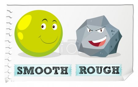 Opposite adjectives with smooth and rough