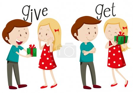 Illustration for Boy giving and girl getting illustration - Royalty Free Image