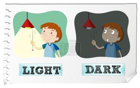 Illustration for Opposite adjectives light and dark illustration - Royalty Free Image