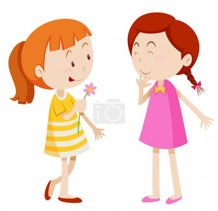 Two girls chatting with each other illustration...