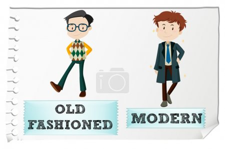 Opposite adjectives with old-fashioned and modern