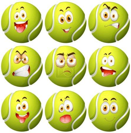 Illustration pour Balle de tennis avec illustration de l'expression faciale - image libre de droit