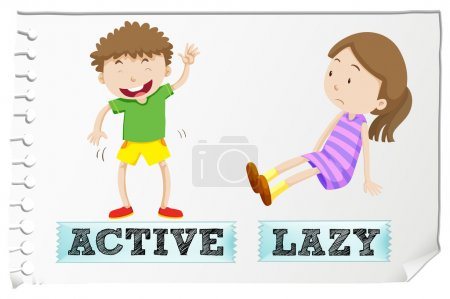 Opposite adjectives active and lazy