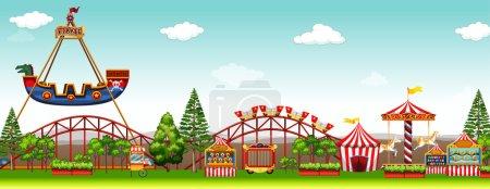 Amusement park with many rides illustration...