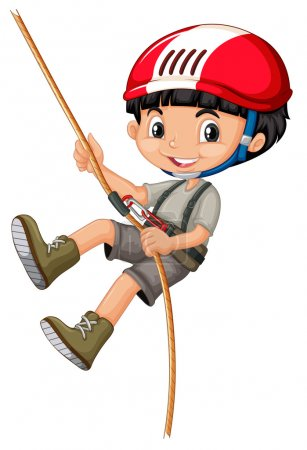 Boy in climbing gears holding a rope