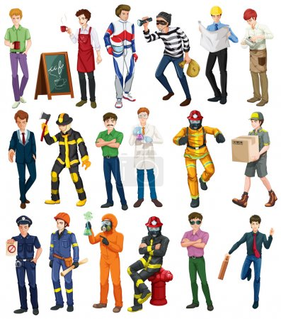 People doing different occupations illustration...