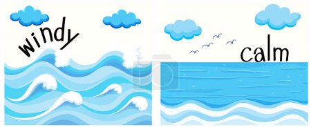 Illustration for Opposite adjectives with windy and calm illustration - Royalty Free Image