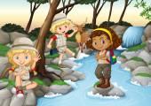 Children having fun at the waterfall