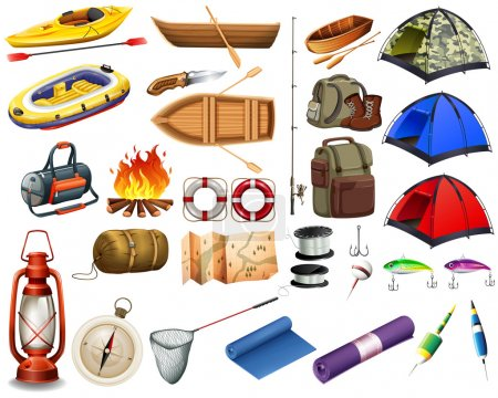 Illustration for Camping gears and boats illustration - Royalty Free Image