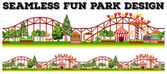 Seamless fun park design with many rides illustration