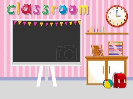 Illustration pour Salle de classe vide avec tableau noir illustration - image libre de droit