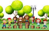 Children standing on log in the park illustration